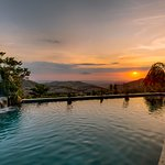 Pool sunset - view from the restaurant