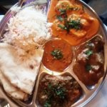 Eggplant dish and Taj Thali