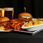 PianoFight signature dishes, Burger, Fried Chicken Sandwich, Mac & Cheese, Cajun Curly Fries