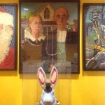 """""""American Gothic"""" made of jelly beans."""