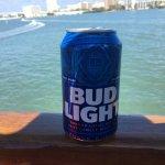 Enjoying a cold Bud Light while cruising