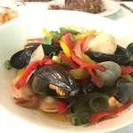 Curry seafood and rib eye