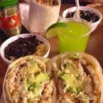 Homemade black beans & Mexican rice, Fish Called William, Steak fajita burrito, margarita