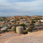 View of Coober Pedy from a hill next to the Desert Cave Motel