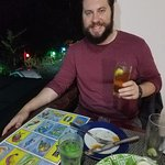 Playing the lotteria. We won and the prize was a shot of tequila for my girlfriend and me!