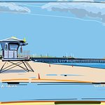 My painted view of beach and lifeguard station