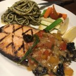 Grilled salmon with mango and prune salsa the pasta also taste really good.