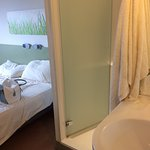 Shower next to the bed.