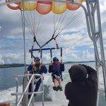 Tandem parasailing, just taking off !