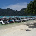 The line up of tour boats at the lunch stop.  Luckily we were there first.