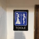 Even the toilet sign is flamenco-themed