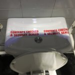 The toilet cistern with security tape