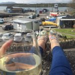 Enjoying a glass of wine with a view