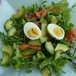Mixed Salad with Smoked Salmon and Avocado at Lunchtime