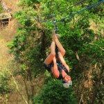 Hanging upside down zipline