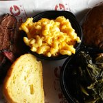 brisket, collard greens, mac and cheese (cheesy yum) and cookie