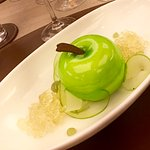 #5 Apple yoghurt parfait, with poached apple, cider & almond crunch.
