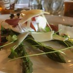 asparagus and poached egg with parmesan