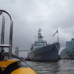 Travelling downstream past HMS Belfast and Tower Bridge