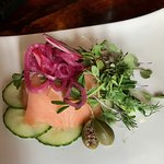 smoked Duck Trap River salmon mousse, dill mascarpone, cucumber, caper berry, pickled red onion