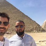 with Khaled heading to the Great Pyramid