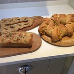 Focaccia, Fougasse and Double Gloucester and spring onion tear and share bread.