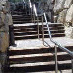 These are the steps down now to hotel .slope at side but very steep