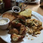 Shared Omelet; smoked salmon scramble, perfect potatoes, toast and blackberry jam