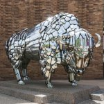 Bison Sculpture in Front of Wells Fargo