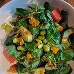 Mixed salad with edamame beans.
