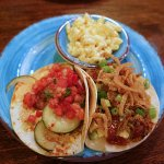 tacos with pimento mac and cheese