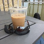 Chilling with a delicious iced latte at the Kenosha harbor.  Nice!