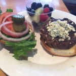 Bison Burger and Fruit Cup