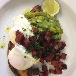 Perfect brunch dish of poached eggs on sweet potato toast with avocado & chorizo.