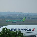 kulula Airlines jet departing in the background. AF 280 in the foreground