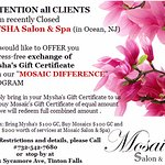 Mysha day spa and salon former clients are welcome at Mosaic Salon and Spa in Tinton Falls, NJ