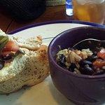 Half veggie sandwich/ half soup black bean