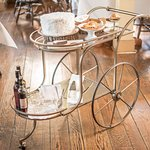 Our beautiful dessert cart filled with treats made by our pastry chef Hall Hitzig