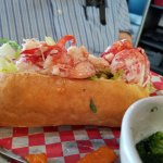 Lobster roll; overflowing with lobster!