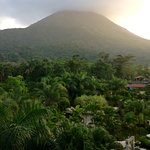 View from balcony; facing Volcano & view of pools.
