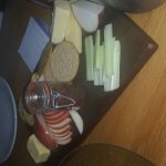 Cheeseboard with homemade onion chutney.