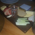 Cheeseboard with homemade onion chutney.