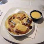 Luvly desserts, limoncello bombe and brioche bread and butter pudding with custard.