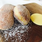 Homemade doughnuts with creme anglaise
