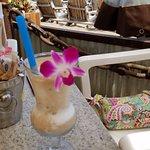 Frozen coconut drink with bursting juice gel balls