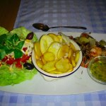 Grilled Prawns with Chips and Salad