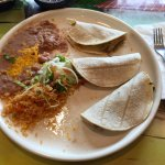 Tacos de Carnitas with rice and beans