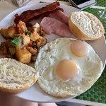 eggs over easy, ham, toast, potatoes, bacon, yum!