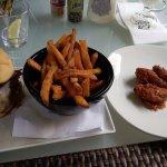Obama Burger, Sweet Potato Fries & Super Hot Wings