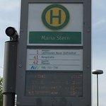 Tram stop 'Maria Stern' outside hotel